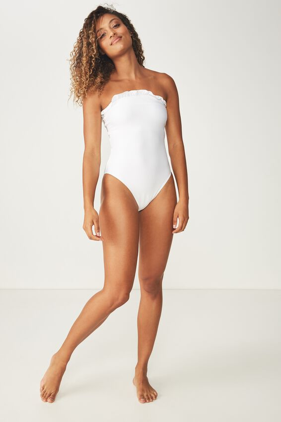 Penelope Frill Straight Neck One Piece Cheeky, WHITE