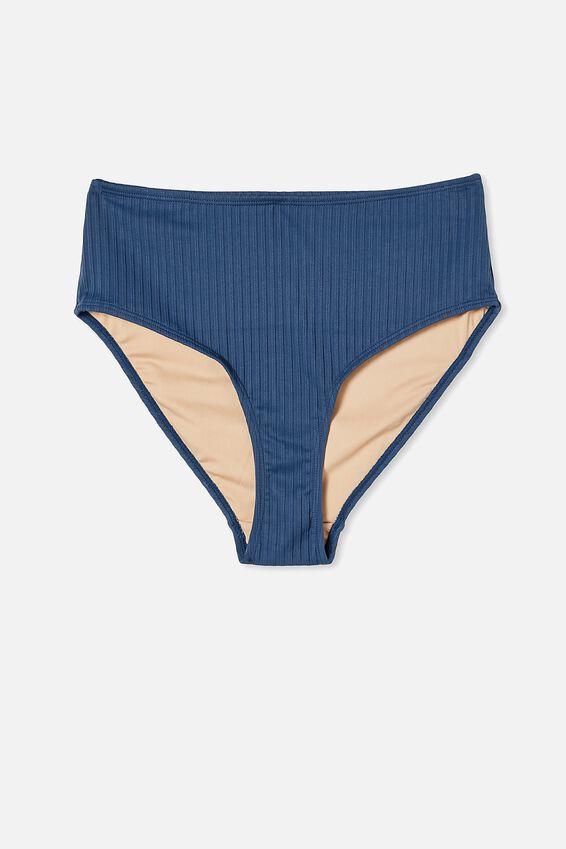 Highwaisted Full Bikini Bottom, MARINA BLUE RIB 21