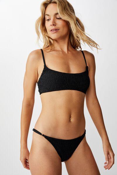 Tanga Brazilian Bikini Bottom, BLACK SHIRRED