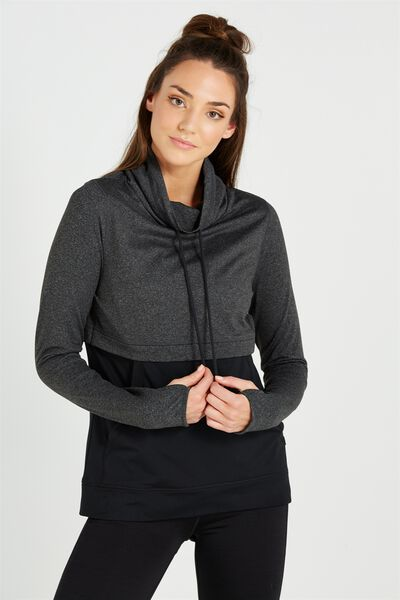 Workout Gym Tunnel Long Sleeve Top, CHARCOAL MARLE/BLACK