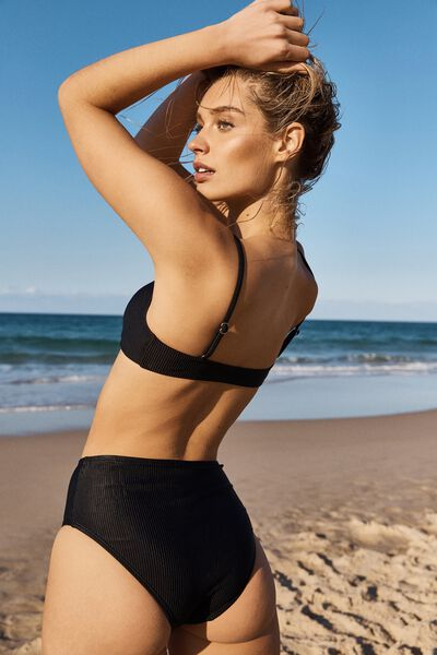 Highwaisted Full Bikini Bottom, BLACK RIB