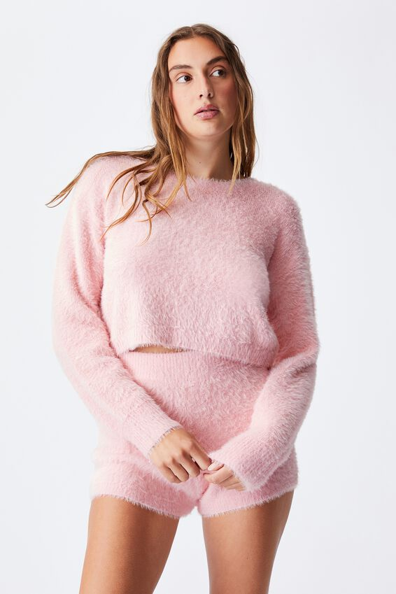 Fluffy Cropped Knit Pull Over, FAIRY TALE PINK