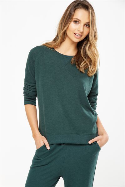 Super Soft Crew Neck Top, HUNTER GREEN MARLE