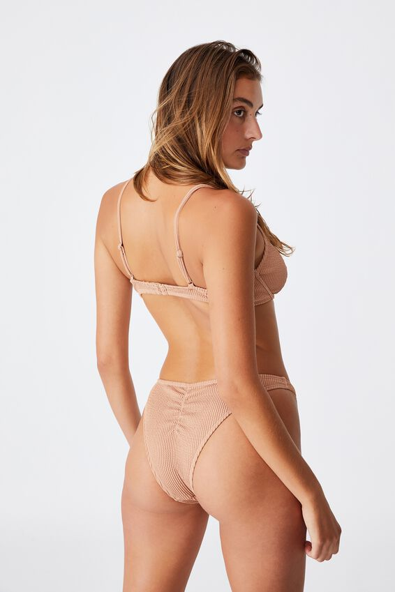 Gathered Bum Brazilian Bikini Bottom, LION BROWN CRINKLE