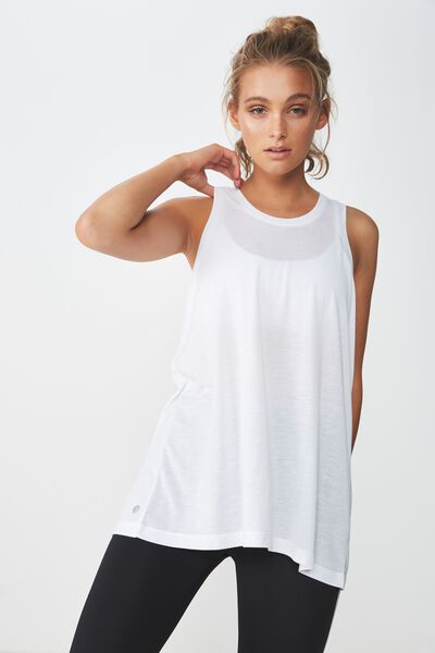 Active Elastic Back Tank Top, WHITE