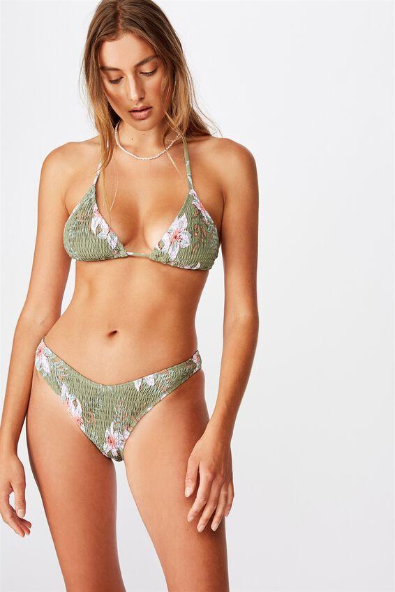 High Side Brazilian Bikini Bottom, COOL AVOCADO FLORAL SHIRRED