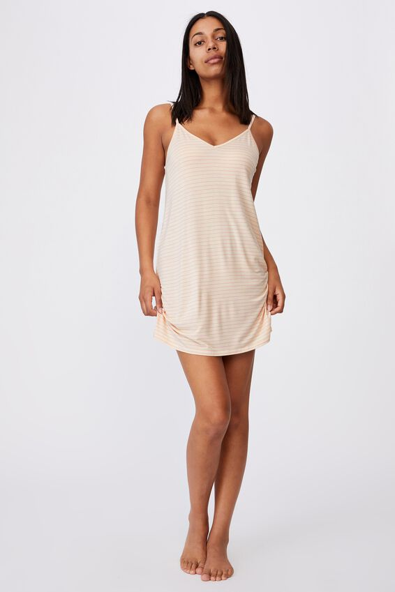 Sleep Recovery V Neck Nightie, SLENDER STRIPE BUTTERMILK