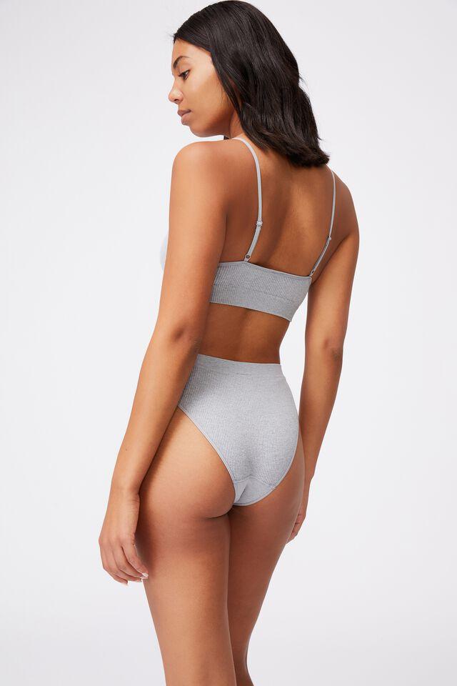 Seamfree High Cut Cheeky Bikini Brief, LT GREY MARLE
