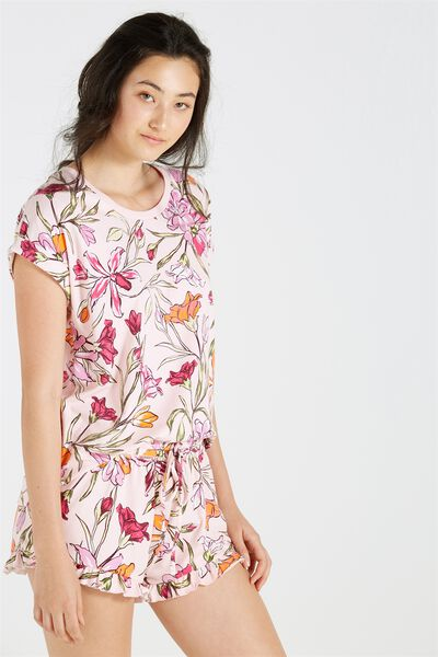 Match Back Short Sleeve Tshirt, TROPICAL BOUQUET PETAL PINK