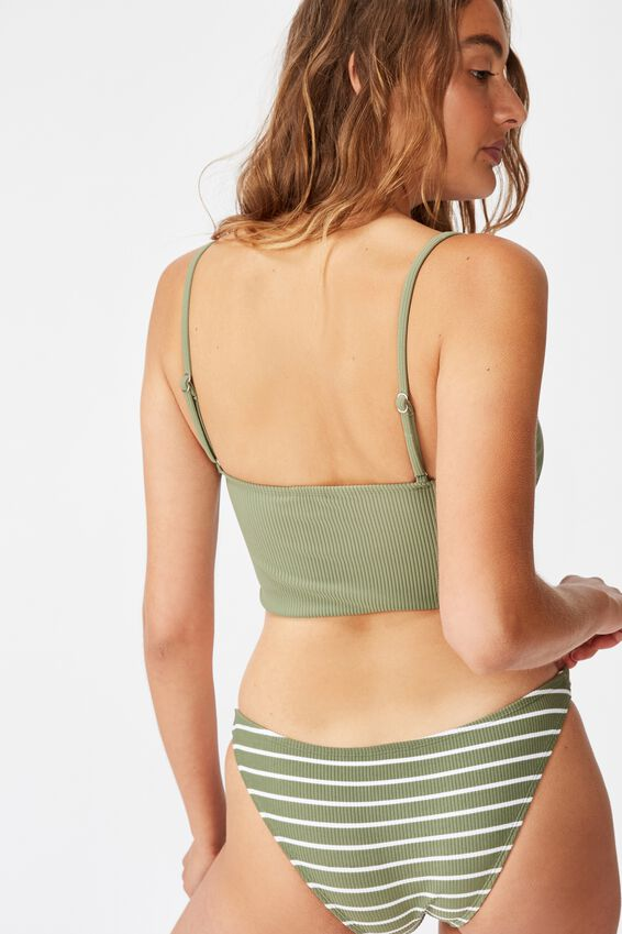 Longline Scoop Bikini Top, COOL AVOCADO RIB