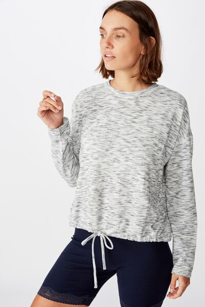 Super Soft Draw Cord Crew, SOFT GREY TONAL
