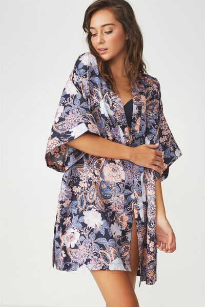 Kimono Robe, ADORNED PAISELY/MIDNIGHT