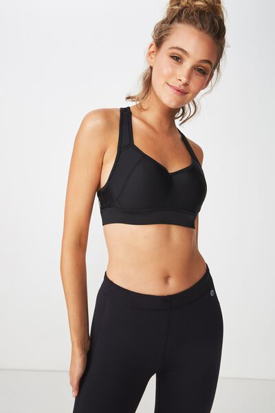 High Impact Wire Free Sports Bra, BLACK
