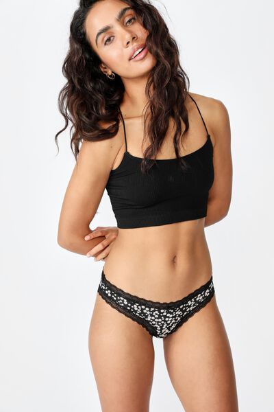 Smooth Lace Trim Bikini Brief, SPLATTER DAISY BLACK