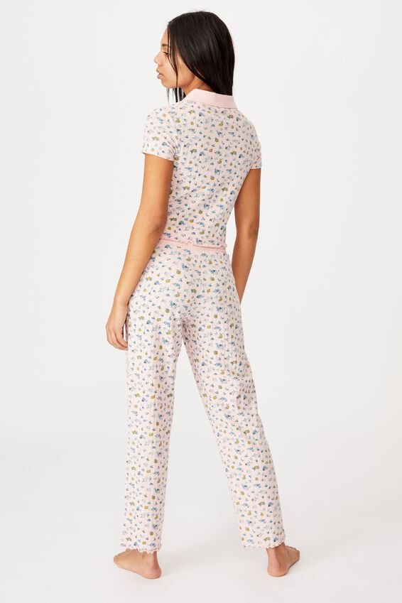Knit Pointelle Sleep Pant, BUTTERFLY DITZY/ROSE WATER MARLE