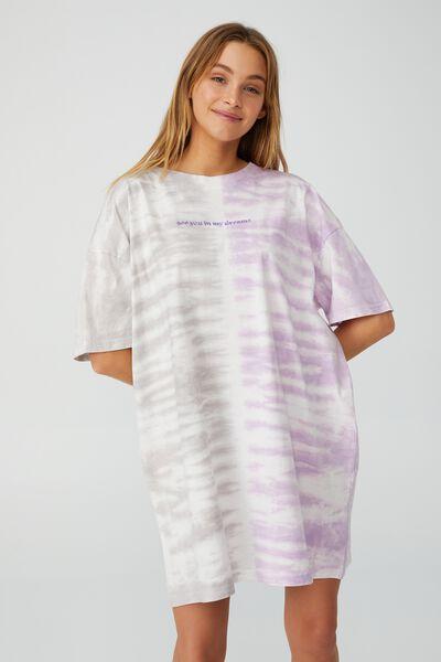 Organic Cotton 90S T-Shirt Nightie, IN MY DREAMS/PANEL TIE DYE