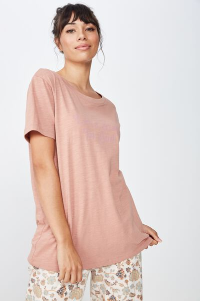 Textured Boyfriend Tshirt, PEACHY ROSE/STAY IN BED