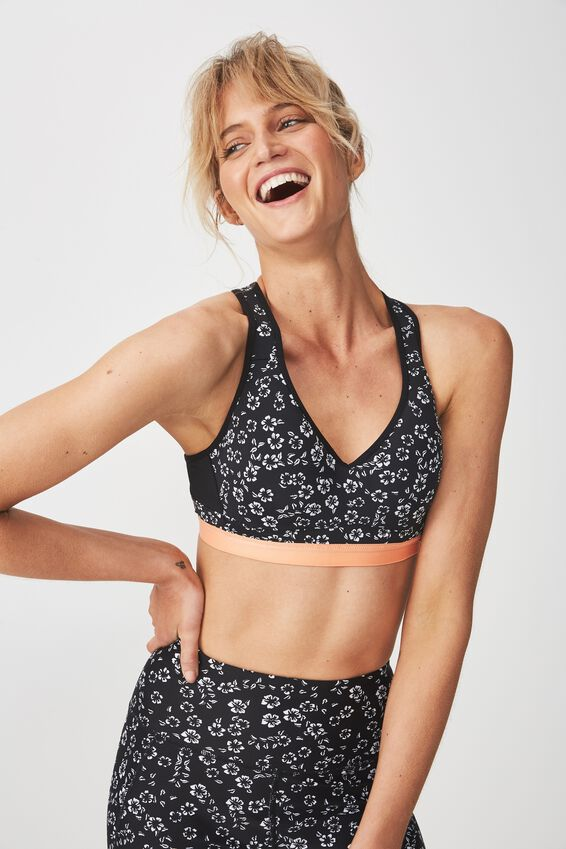 High Impact Sports Bra, TOSSED POPPY MONO
