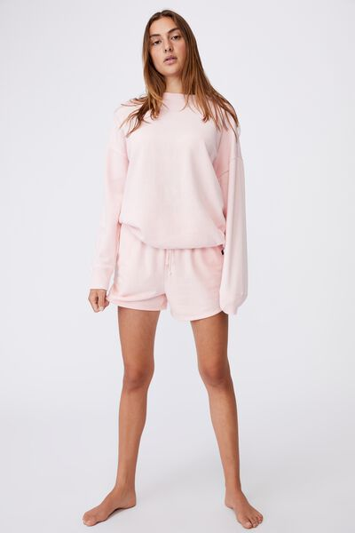 Lifestyle Long Sleeve Crew Top, PINK SHERBET