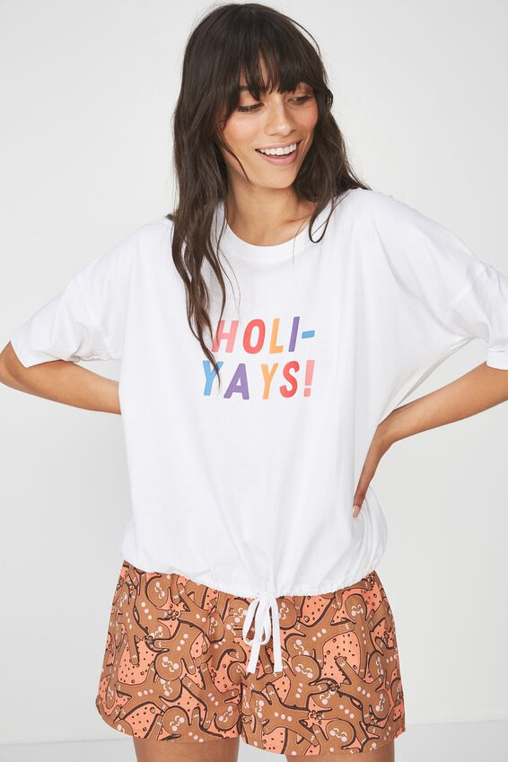 Christmas Pajama Top, WHITE/HOLIYAYS