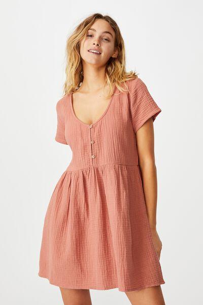 Button Up Beach Dress, TERRACOTTA