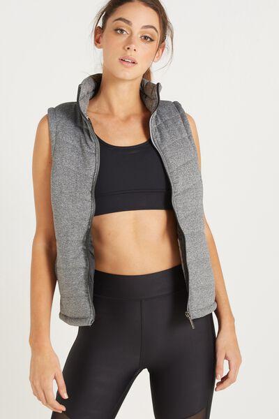 Slimline Puffer Vest, CHARCOAL