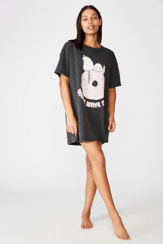 90 S Tshirt Nightie, LCN PEA SNOOPY/WASHED BLACK