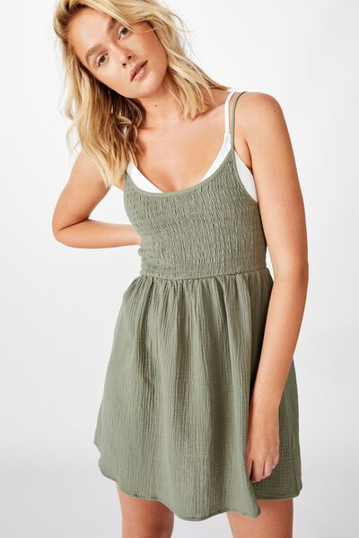 Shirred Beach Dress, COOL AVOCADO