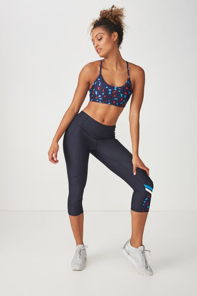 Placement Print Crop Tight, NAVY / PAINTED LEOPARD NAVY