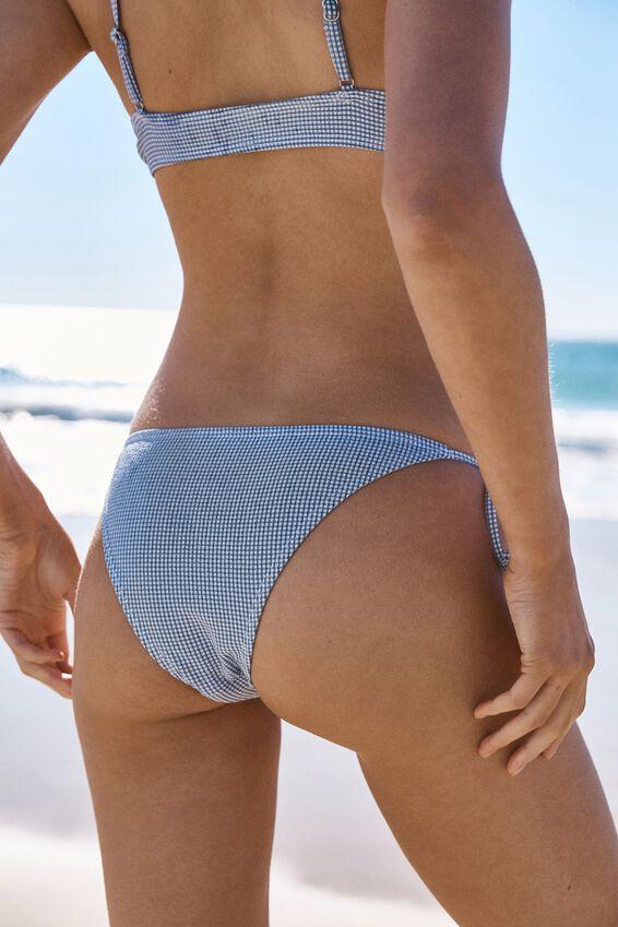 Tie Side Cheeky Bikini Bottom, MARINA BLUE GINGHAM