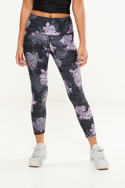 Highwaisted Yoga 7/8 Tight, GLITCHED FLORAL BLACK