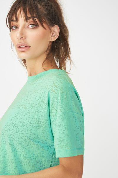 Boxy Burnout T Shirt, SPRING GREEN