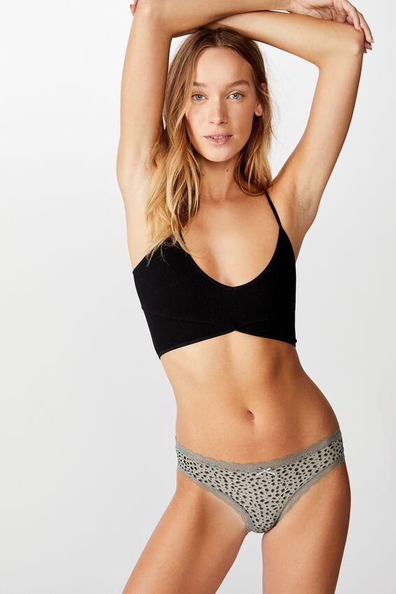 Smooth Lace Trim Bikini Brief, IKAT PEBBLE