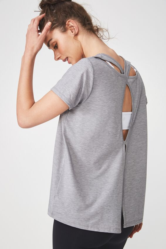 Split Back Hi-Low T Shirt, MID GREY MARLE