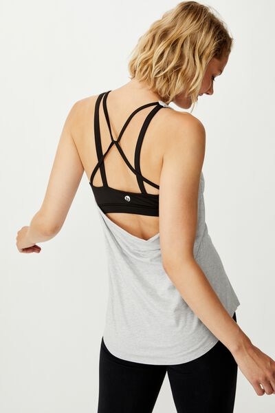 Strappy 2 In 1 Tank Top, GREY MARLE/BLACK