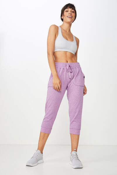 Cropped Gym Track Pants, PURPLE DOVE MARLE