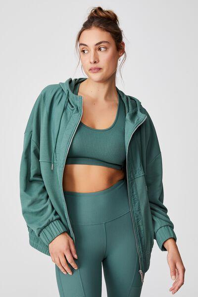 Panelled Zip Through Hoodie, SMOKED GREEN