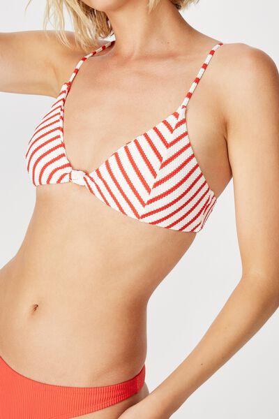 Knot Front Bralette Bikini Top, RED AND WHITE STRIPE PEBBLE