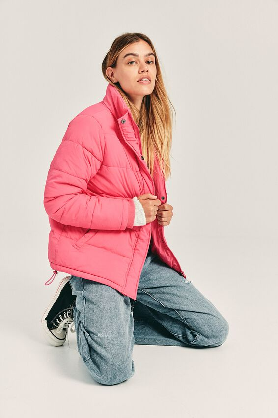 The Mother Puffer Jacket, WINTER BRIGHT PINK
