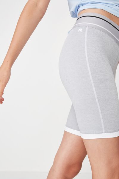 Active Mid Gym Short, GREY MARLE / WHITE