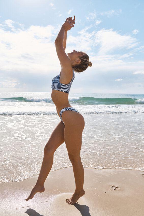 High Side Brazilian Bikini Bottom, BLUE STRIPE