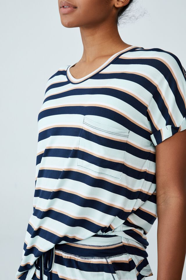 Sleep Recovery Pocket T-Shirt, PEPPERMINT STRIPE