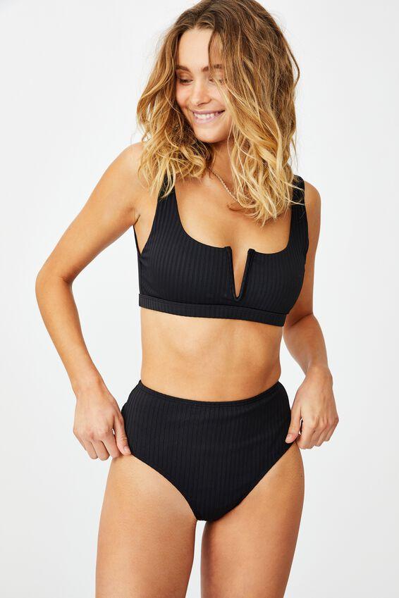 Highwaisted Full Bikini Bottom, BLACK RIB 21