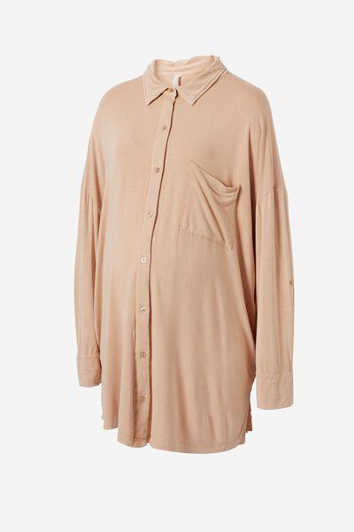 Sleep Recovery Maternity Night Shirt, BUTTERSCOTCH WASH