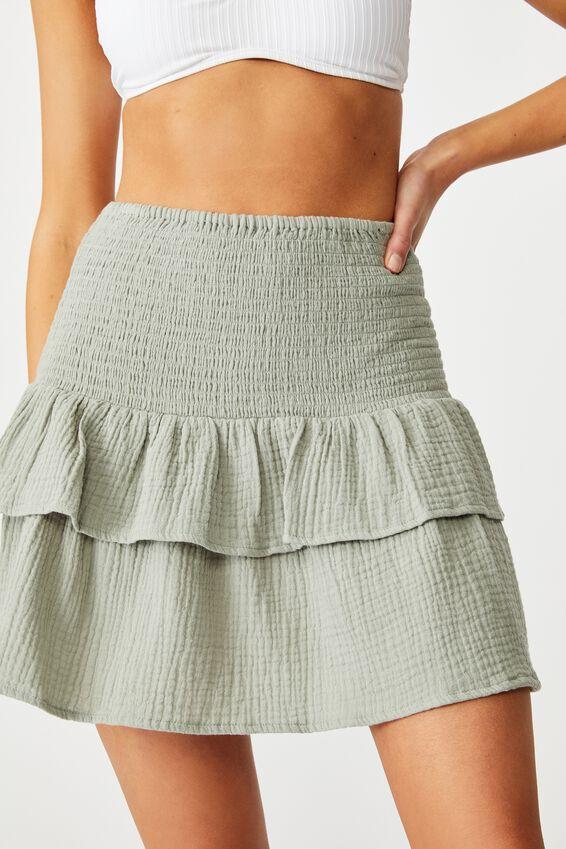 Shirred Beach Skirt, KHAKI