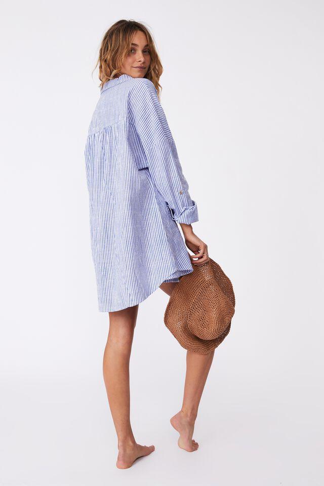 Swing Beach Shirt, BLUEBERRY/ WHITE STRIPE