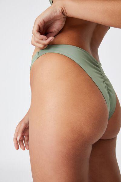 Gathered Bum Brazilian Bikini Bottom, KHAKI