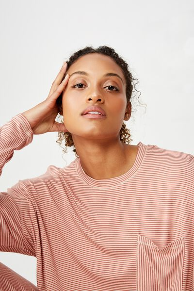 Sleep Recovery Boxy Long Sleeve Top, TONAL TANDOORI STRIPE