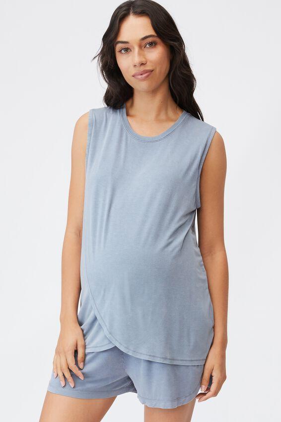 Sleep Recovery Maternity Tank, BLUE JAY WASH