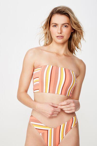 Longline Bandeau Bikini Top, PINK MULTI STRIPE
